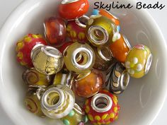 European Lampwork Glass Beads, Handmade, Orange and Yellow, Silver Plate Brass Double Core