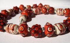 pomegranate of Aphrodite Glass Necklace, Aphrodite, Lampwork Beads, Pomegranate, Handmade, Jewelry, Granada, Hand Made, Jewlery