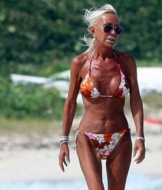 Donatella Versace tan