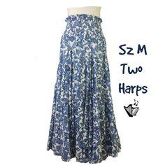 a75f2635ba5 Details about A Byer Black Boho Midi Skirt Sz 13 Cotton Spiral Swirl Drop  Waist A-Line. eBay. Two Harps Circle Skirt Sz M Cotton Paisley Smocked  Elastic ...