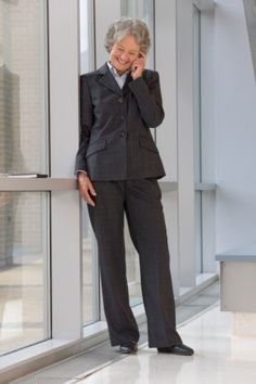 Classic styling.  I wore this style or very similar of suit for almost 30 years.  Looks great on anyone.  ~~  Fashion over 60