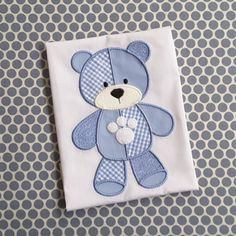 Baby Applique Machine Embroidery Design Patchwork Bear by BabyEmbroideryShop on Etsy