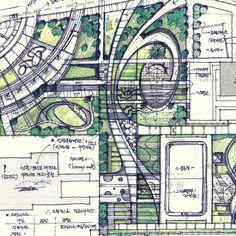 Landscape Gardening Meaning Tagalog Landscape Gardening Bracknell Landscape Sketch, Landscape Design Plans, Landscape Concept, Landscape Drawings, Urban Landscape, Architecture Environnementale, Environmental Architecture, Environmental Design, Street Marketing