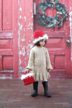 Girl's Beanie CROCHET PATTERN Hat and Bag SANTA Holiday Winter Christmas