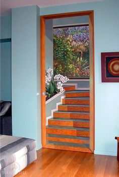 Paint can also be applied to a wall in an artistic manner to create a scene or mural so life like it becomes an illusion. Door Design, Wall Design, House Design, Mural Painting, Mural Art, Paintings, Door Murals, Painted Doors, 3d Wall