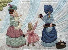 "#13 ""The Bonnet Girls Neighborhood & Town""   Vendor Pattern $13.50.   The Bonnet Girls Neighborhood & Town  Roseanna the flower vendor has a tray and basket full of flowers to sell to Carlie and Arabella. The baby seems to be excited also.    Heavy shadow appliqué gives a feeling of wind to the design.   Green fabric will be needed for the appliqué tree.  Flesh colored fabric will be needed for the hands.  Embroidery floss is needed for the hair."