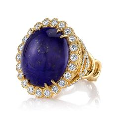 18K Yellow Gold Lapis Lazuli (22.53ct) accented with Diamonds (1.65ctw) Ring