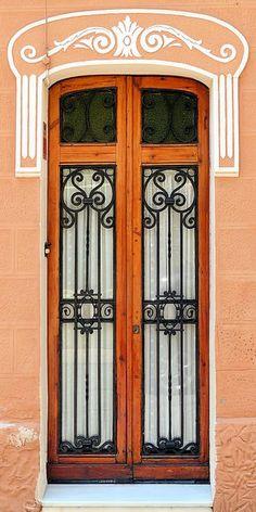 1925 Art Nouveau door in Barcelona, Spain.