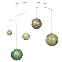 Ever so graceful, the Authentic Models GL060 Globe Mobile is original and correct in its details. It features five (5) different globes, ranging from 16th to 20th century models, connected to wires and rods. These vintage globes make an excellent addition to a kid's bedroom.