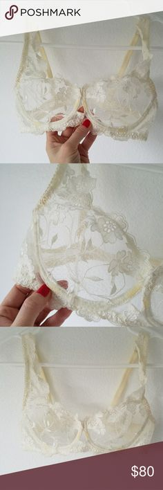 Vintage white flowers lace bra Brought from France Vintage Intimates & Sleepwear Bras