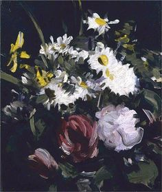 Flowers against a Dark Background - Peploe Samuel