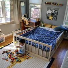 Montessori Floor Bed With Rails Full or Double Size Floor Bed Hardwood made in USA INCLUDES SLATS Cama Montessori com trilhos Cama de tamanho completo ou duplo Toddler Floor Bed, Diy Toddler Bed, Boy Toddler Bedroom, Baby Bedroom, Baby Boy Rooms, Baby Room Decor, Kids Bedroom, Toddler Boy Room Ideas, Toddler Beds For Boys