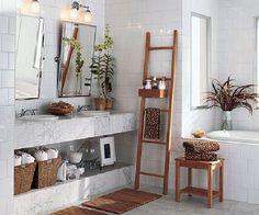 white minimalist bathroom design and storage ideas