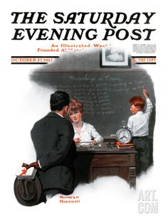 """October 27, 1917 ~ """"Knowledge is Power"""" by Norman Rockwell...... Norman Rockwell Prints, Norman Rockwell Paintings, After School, School Days, Peintures Norman Rockwell, Saturday Evening Post, Illustrations, Albert Einstein, Belle Photo"""