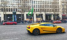 Supercars  on Champs Elysees Paris.April 5th, 2015. Http://www.ChampsElysees-Paris.com All about the famous avenue and its district.