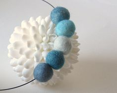 shades of blue necklace felt ball jewelry winter by frankideas, $22.00