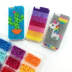 DIY iPhone case designs made with perler beads