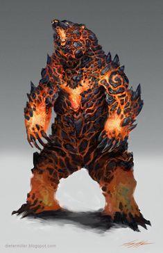 Lava Bear by Dieter Miller Fantasy Kunst, Fantasy Rpg, Fantasy Artwork, Dark Fantasy, Monster Design, Monster Art, Magical Creatures, Fantasy Creatures, Beast Creature