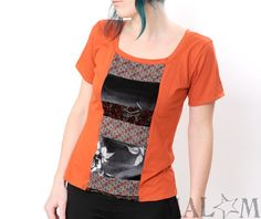 Orange patchwork tee - tangerine graphic tee with patchwork, size M-L. €48.00, via Etsy.