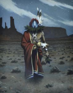 """Monument Valley"" Original Painting by Al Bahe, Navajo"