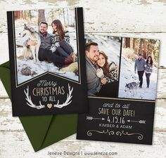 Holiday Photo Save the Date Card Say Merry Christmas by Jeneze