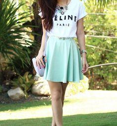 Celine t-shirt & turquoise skirt