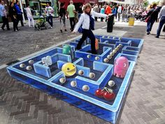 Dutch artist Leon Keer is known for his impressive street art displays that play with perspective, but he also knows how to attract onlookers -- by choosing a recognizable theme. One of his most recent works seen in the Netherlands paid homage to Pac-Man, the 1980s arcade game.