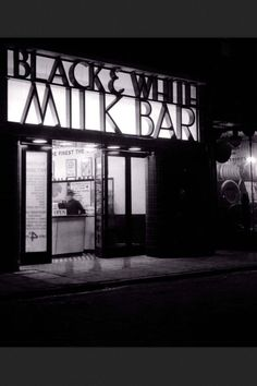 Black & White milk bar Pentonville Road, London N1 (c. late 1930's) Touted by the British Temperance Society as the morally acceptable alternative to the pub, milk bars first arrived on our shores in the mid 1930's. Typically they would have a long bar running the length of the room with intimate booths for convivial conversation and dining. By the early 40's there were 1500 milk bars in the UK. By the 1970's there were none.
