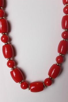 Items similar to Vintage red Lucite beaded necklace, new with tag NOS on Etsy Handcrafted Jewelry, Unique Jewelry, Vintage Jewelry, Jewelry Design, Fashion Jewelry Necklaces, Beaded Jewelry, Silver Jewelry, Tibetan Jewelry, Indian Jewelry