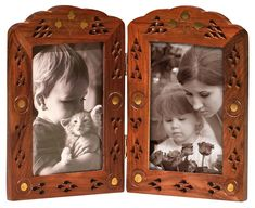 Double Photo Frame for Pictures Items - Vintage Look Hand Carved Solid Wood Picture Frame - Decorative Antique Lattice Brass Inlay for Living Room Tabletop Decor -Couple Gifts Photo Picture Frames, Picture On Wood, Vintage Photo Frames, Vintage Photos, Top Gifts, Best Gifts, Double Photo Frame, Couple Gifts, Home Decor Accessories