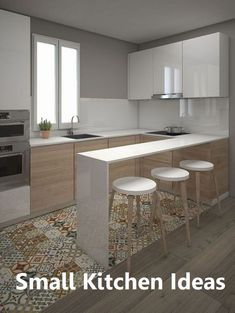Browse photos of Small kitchen designs. Discover inspiration for your Small kitchen remodel or upgrade with ideas for organization, layout and decor. Kitchen Tiles, Kitchen Layout, Kitchen Flooring, New Kitchen, Kitchen Island, Kitchen Small, 10x10 Kitchen, Basement Kitchen, Awesome Kitchen
