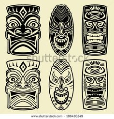 Find Vintage Carved Polynesian Tiki Totem Vector stock images in HD and millions of other royalty-free stock photos, illustrations and vectors in the Shutterstock collection. African Masks, African Art, Tiki Maske, Arte Haida, Stencil, Totems, Tiki Head, Tiki Totem, Hawaiian Tiki