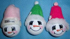 Light bulb Christmas ornaments: Snowman $5.    (please specify color)
