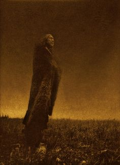 Crying to the Spirits by E.S. Curtis in gold tones