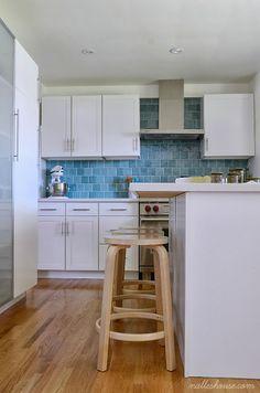 DIY Kitchen, turquoise blue backsplash, white shaker cabinets