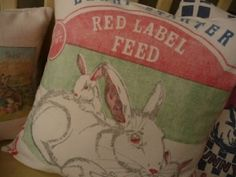 feed sack pillows by ZombieGirl