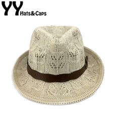 >> Click to Buy << Knitted Trilby Fedora Women Panama Hats Belt Yarn Hollow-out Summer Hat Jazz Cap Girl Retro Beach Hat Chapeus Femininos YY17093 #Affiliate