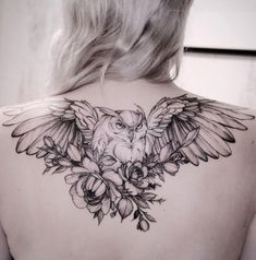 Owl Tattoo Meaning, Best Owl Tattoo Design Ideas flying owl tattoo on back by Diana Diana Trendy Tattoos, Black Tattoos, Body Art Tattoos, Sleeve Tattoos, Tattoos For Women, Tattoo Art, Owl Tattoo Drawings, Hawk Tattoo, Stomach Tattoos