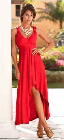 Asymmetrical-hem maxi dress