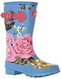 Gorgeous floral print wellies for girls.  Perfect for those rainy days.  ///////////////////////  Unless they are like my girls...These would be every day shoes.