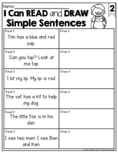 READ and DRAW simple sentences!  What a GREAT way to check for comprehension of sight words and CVC words!