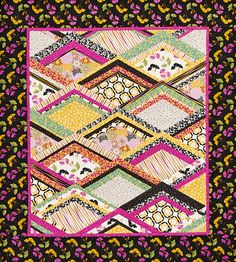 Bright prints and punches of color on this wall hanging turn diamond shapes into sparkling jewels. Fabrics are from the So Chic collection by Waverly for Quilting Treasures. Patch Quilt, Quilt Blocks, Quilting Projects, Quilting Designs, American Patchwork And Quilting, Quilt Patterns Free, Easy Patterns, Block Patterns, Free Pattern