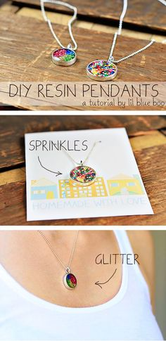 DIY :: How to Make Resin Pendants - love that she doesn't use any harsh chemicals - so we could do this at camp!