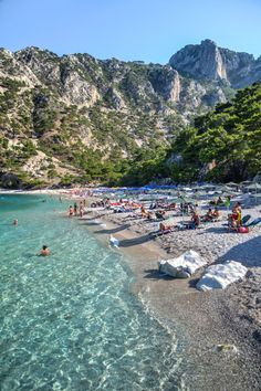 Apella Beach - secluded in a cove between steep mountains on the island of Karpathos (Greece) - is known for its crystal clear water. (Photo by Hans Olav Elsebø) Dream Vacations, Vacation Spots, Karpathos Greece, Places To Travel, Places To See, Myconos, Places In Greece, Greece Islands, Greece Travel
