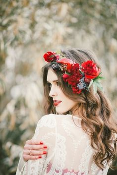 Bridal Hairstyles : long wedding hairstyle with red flower crown / www. Red Flower Crown, Flower Crown Hairstyle, Flower Crown Wedding, Wedding Hair Flowers, Flowers In Hair, Flower Crowns, Fall Flowers, Red Flowers, Wedding Bouquet