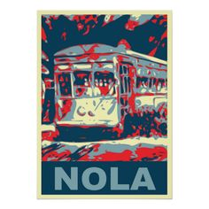 New Orleans Streetcar By Fig Street Art Studio Louisiana art featuring New Orleans streetcar done in three tone style.