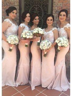 APPLIQUES V-NECK STRAPS MERMAID SATIN SWEAP TRAIN BRIDESMAID DRESS WITH LACE BODICE