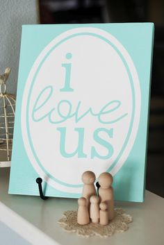 """""""i love us"""" ready to print on canvas - in 4 different colors. and a link to an offer for a free canvas print! gonna order a red one for valentines! cute clothespin family at the bottom, too! Simple Anniversary Decoration Ideas At Home Word Art, Craft Projects, Projects To Try, Craft Ideas, Decorating Ideas, Ideas Prácticas, Wall Ideas, Decor Ideas, Diy Inspiration"""