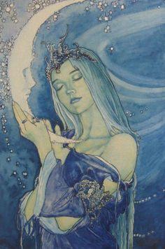 Girl holding the Moon art