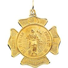 St Florian Round Fire Fighters Solid 14 Karat Yellow Gold Protect Us Medal - Fine Jewelry Fashion Saint Florian, Gold Medallion, Fire Fighters, Patron Saints, Interesting Stuff, Amen, Career, Fine Jewelry, Fashion Jewelry